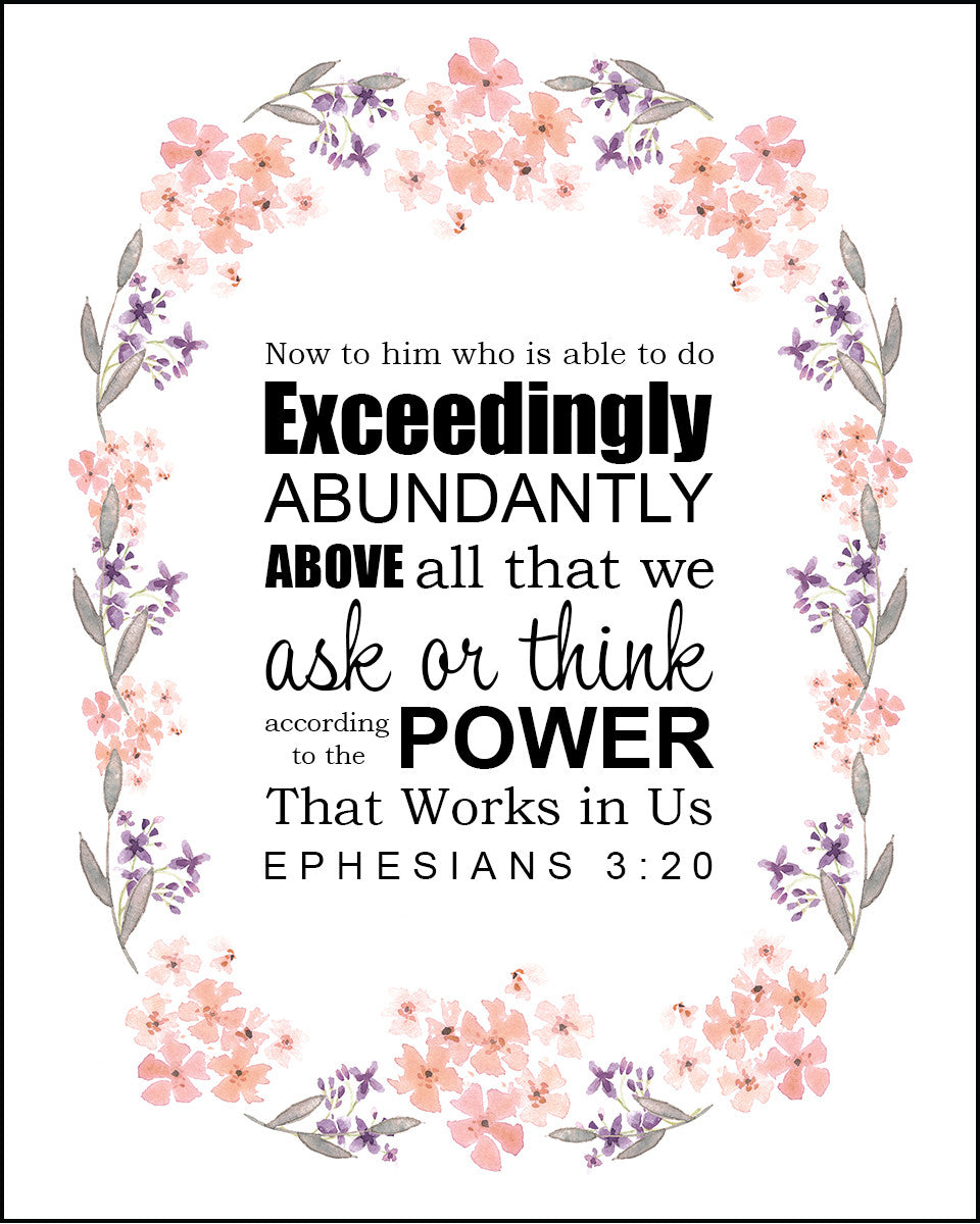Ephesians 3:20 Exceedingly Abundantly - Free Bible Verse Art ...