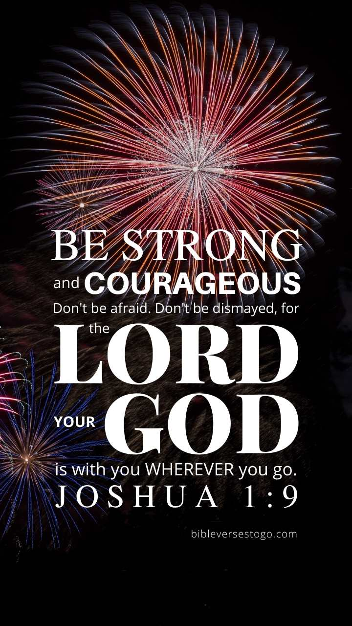 Christian Wallpaper – Fireworks Joshua 1:9