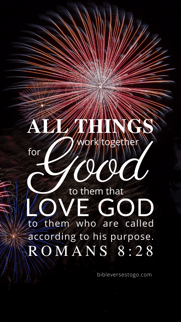Christian Wallpaper – Fireworks Romans 8:28