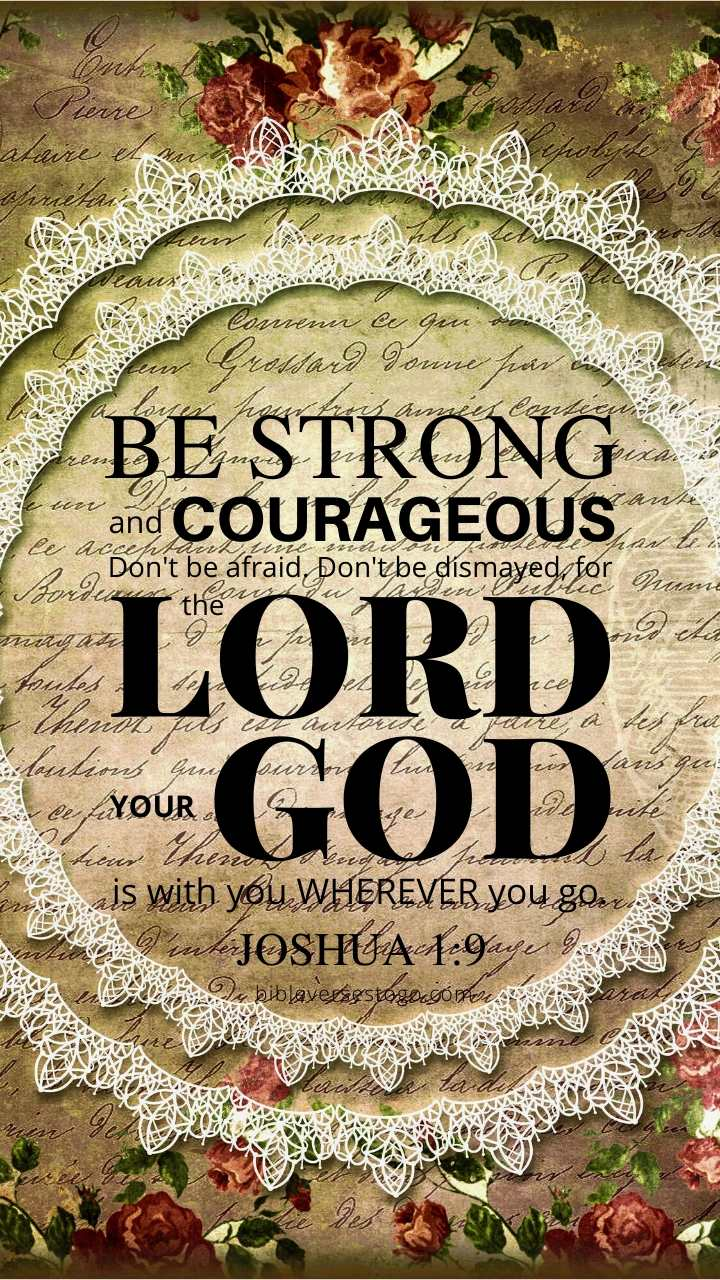 Christian Wallpaper – Gold Lace Joshua 1:9