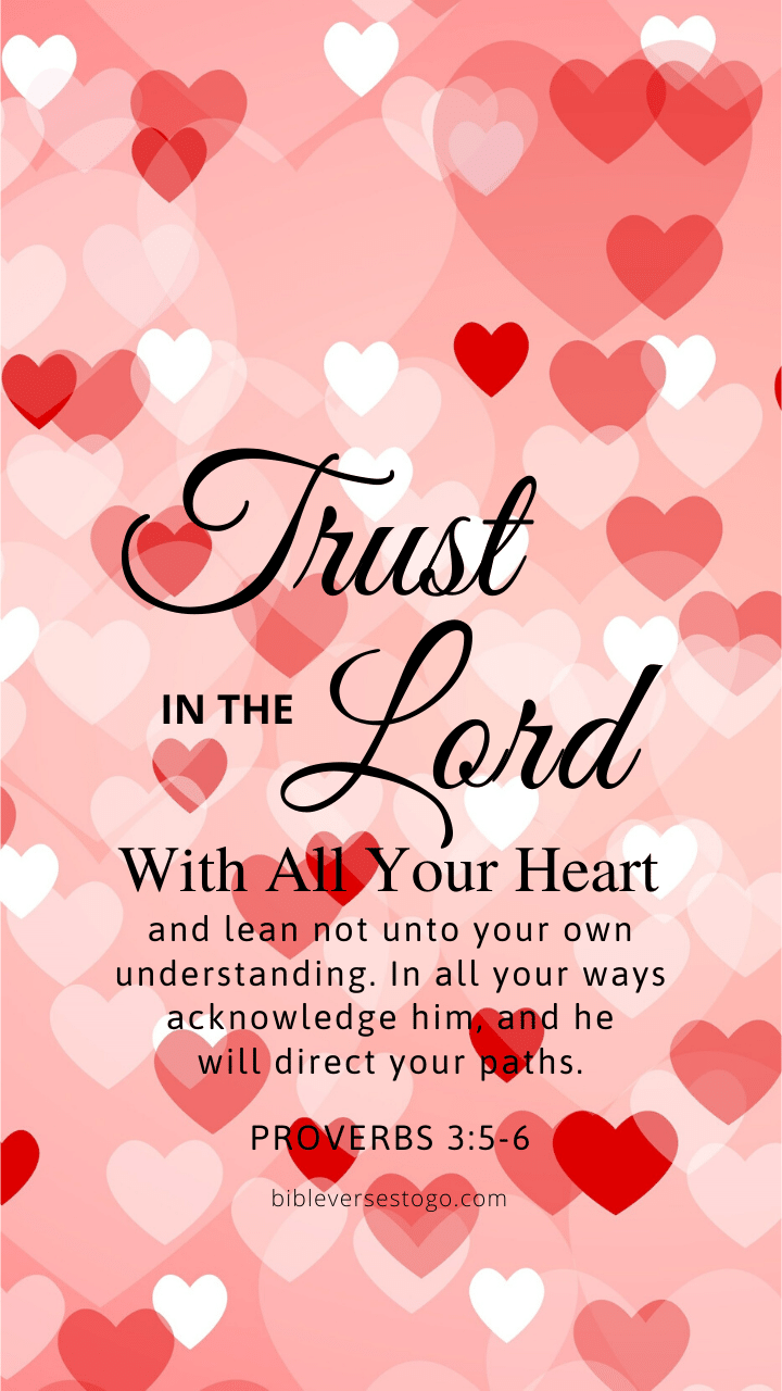 Christian Wallpaper - Hearts Proverbs 3:5-6