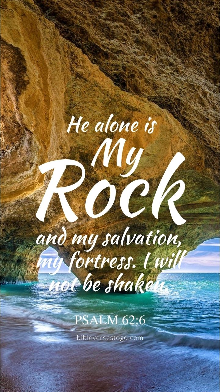 Christian Wallpaper - Ocean Rocks Psalm 62:6