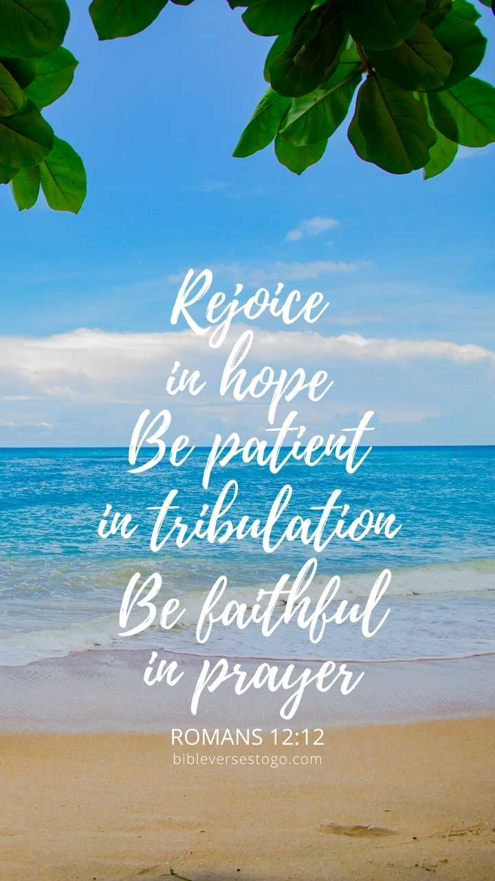 Christian Wallpaper - Ocean View Romans 12:12