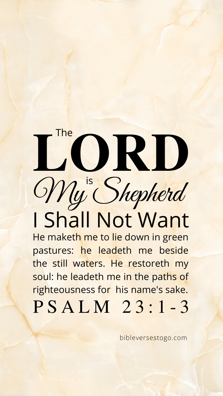 Christian Wallpaper – Off-White Marble Psalm 23:1-3