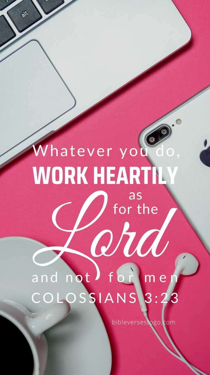 Christian Wallpaper - Office Pink Colossians 3:23