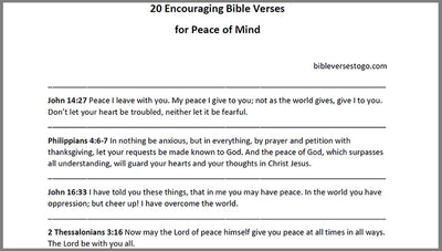 Peace of Mind Bible Verses