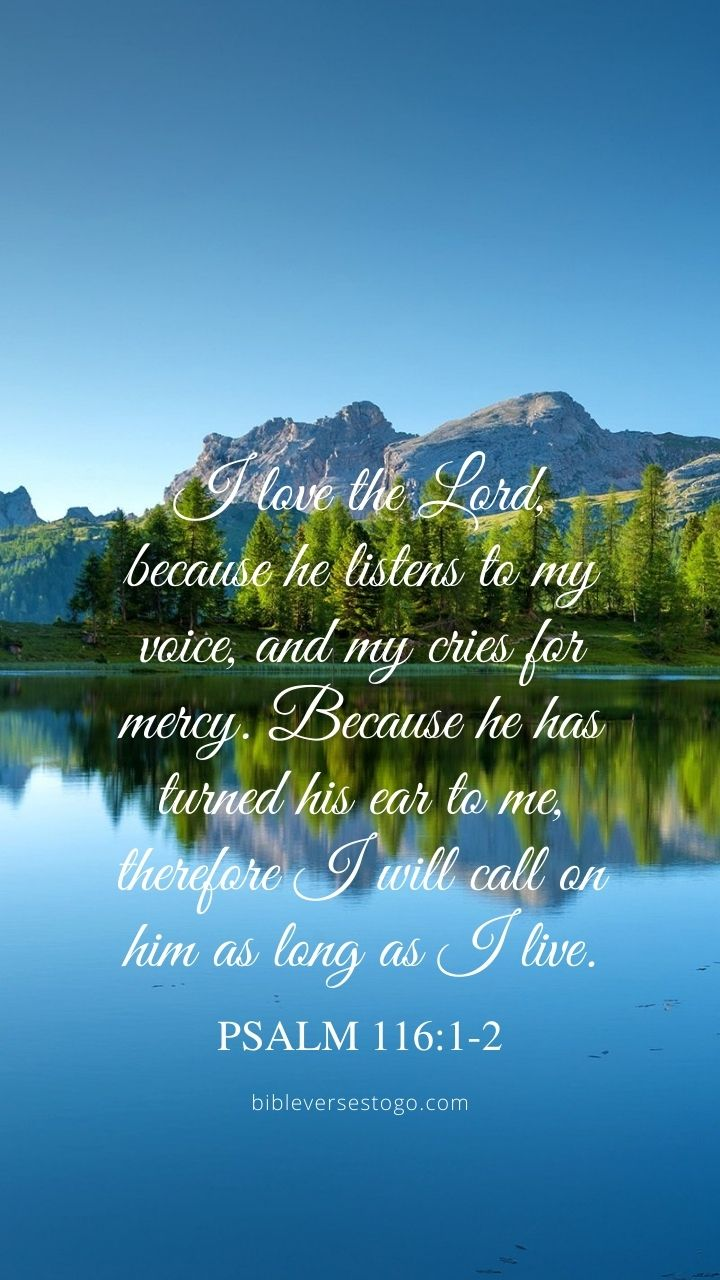 Christian Wallpaper - Pine Lake Psalm 116:1-2