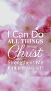 Christian Wallpaper - Pink Bloom Philippians 4:13