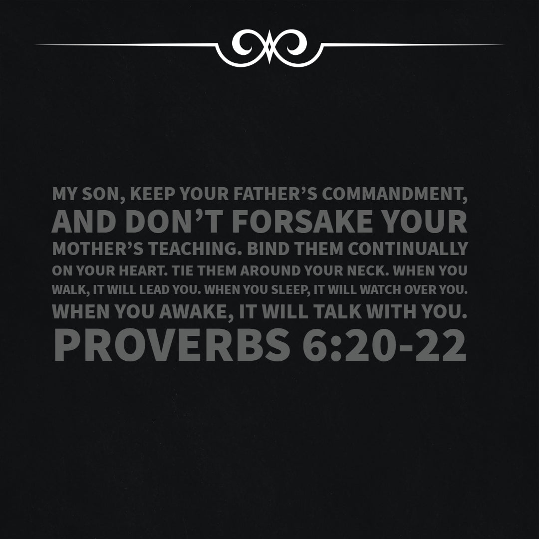 Proverbs 6:20-22 - Don't Forsake Your Mother's Teaching - Bible Verses To Go