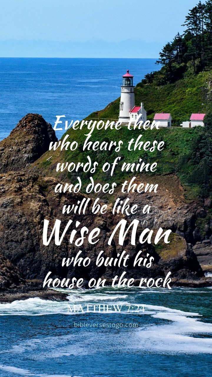 Christian Wallpaper - Sea Rocks Matthew 7:24