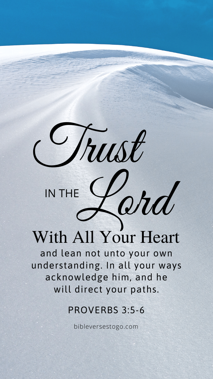 Christian Wallpaper – Snow Trail Proverbs 3:5-6