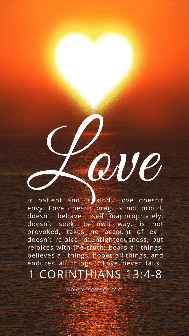 Christian Wallpaper – Sun Heart 1 Corinthians 13:4-8