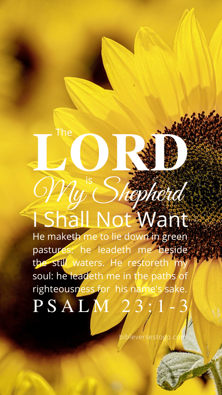 Sunflower Psalm 23:1-3 - Bible Verses To Go