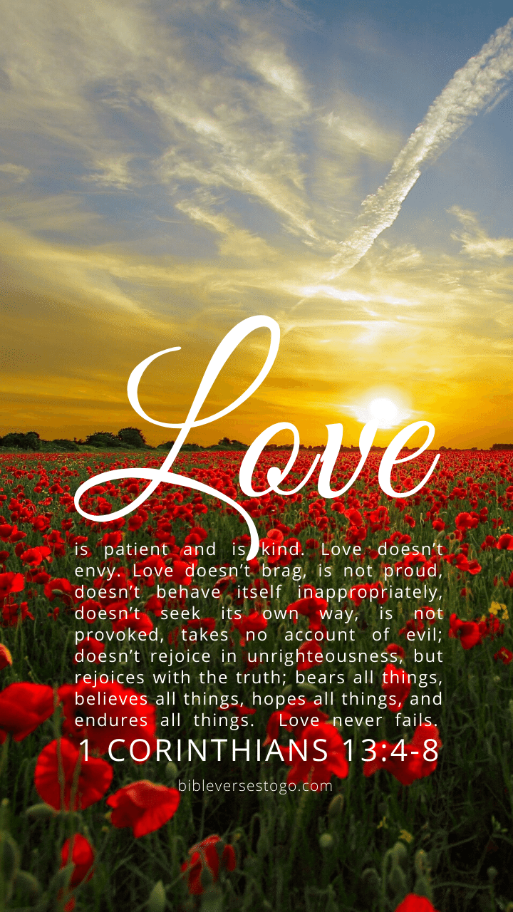 Christian Wallpaper – Sunset 1 Corinthians 13:4-8