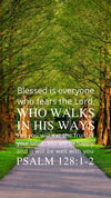 Christian Wallpaper - Tree Lane Psalm 128:1-2