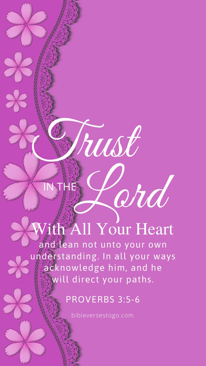 Christian Wallpaper – Violet Proverbs 3:5-6