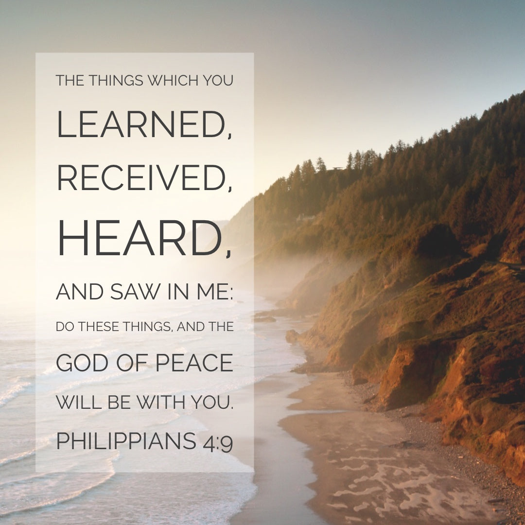 Philippians 4:9 - The God of Peace Will Be With You - Bible Verses To Go