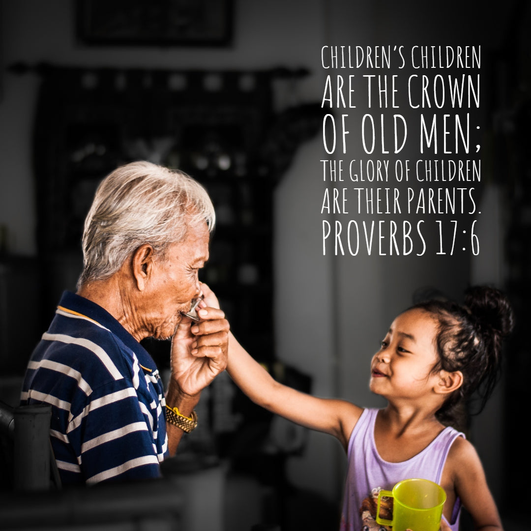 Proverbs 17:6 - Children Are the Crown of Old Men - Bible Verses To Go