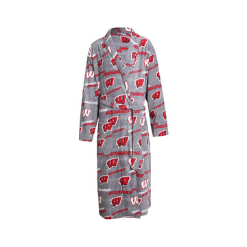 Wisconsin Badgers Achieve Microfleece Bathrobe in Gray