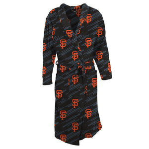 San Francisco Giants Grandstand Microfleece Bathrobe in Black-Bathrobe-Concepts Sport-Top Notch Gift Shop