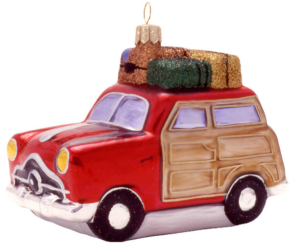Vintage Travel Wagon Blown Glass Christmas Ornament-Ornament-Landmark Creations-Top Notch Gift Shop