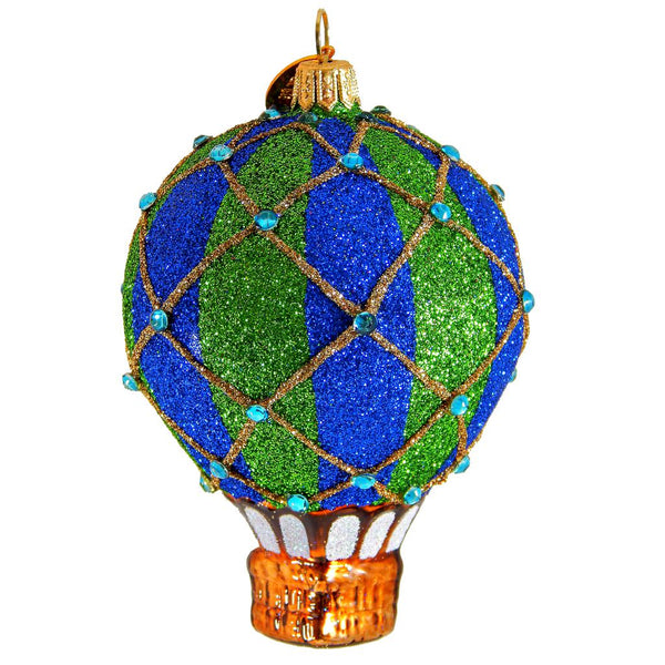 Reflection Fancy Glitter Balloon Blown Glass Christmas Ornament-Ornament-Landmark Creations-Top Notch Gift Shop