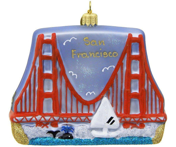 Golden Gate Bridge Blown Glass Christmas Ornament-Ornament-Landmark Creations-Top Notch Gift Shop