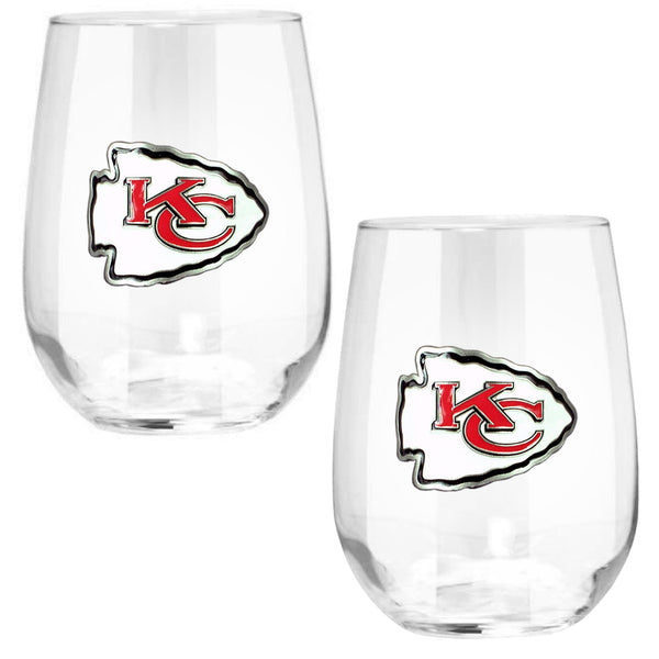 Kansas City Chiefs Stemless Wine Glass - (Set of 2)-Stemless Wine Glass-Great American Products-Top Notch Gift Shop
