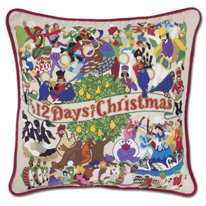 12 Days of Christmas Hand Embroidered Catstudio Pillow-Pillow-CatStudio-Top Notch Gift Shop