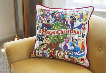 12 Days of Christmas Hand Embroidered Catstudio Pillow