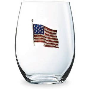 American Flag Jeweled Stemless Wine Glass-Stemless Wine Glass-Cork Pops-Top Notch Gift Shop