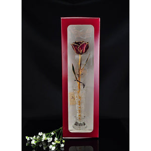 24K Gold Trimmed Abracadabra Rose with Crystal Vase-Gold Trimmed Rose-The Rose Lady-Top Notch Gift Shop