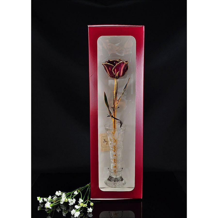 24K Gold Tipped Abracadabra Rose with Crystal Vase-Gold Trimmed Rose-The Rose Lady-Top Notch Gift Shop