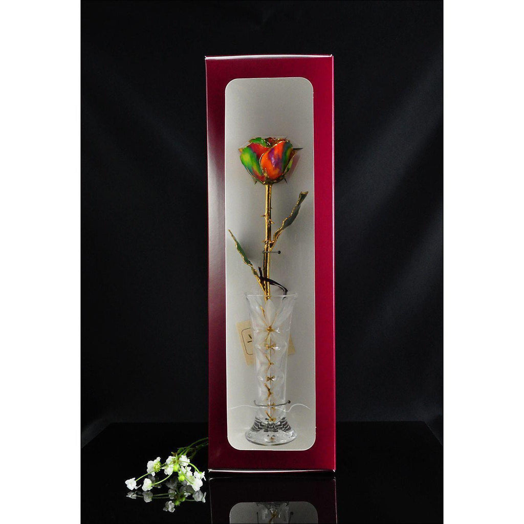 24K Gold Trimmed Aurora Rainbow Rose with Crystal Vase-The Rose Lady-Top Notch Gift Shop