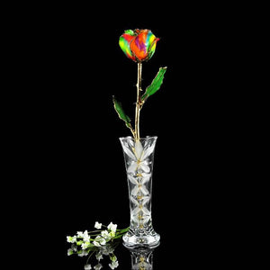 24K Gold Trimmed Aurora Rainbow Rose with Crystal Vase-Gold Trimmed Rose-The Rose Lady-Top Notch Gift Shop