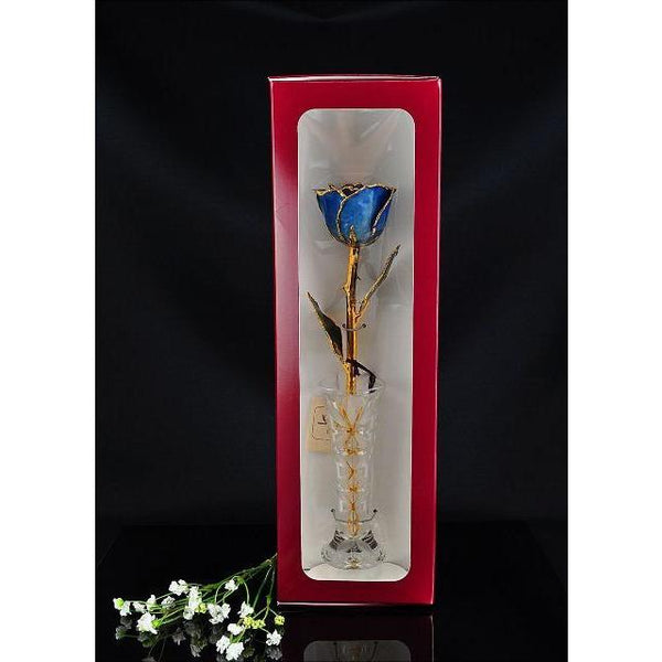 24K Gold Tipped Blue Rose with Crystal Vase-Gold Trimmed Rose-The Rose Lady-Top Notch Gift Shop