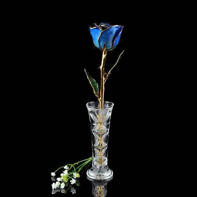 24K Gold Trimmed Blue Rose with Crystal Vase-The Rose Lady-Top Notch Gift Shop