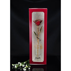 24K Gold Trimmed Burgundy Rose with Crystal Vase-Gold Trimmed Rose-The Rose Lady-Top Notch Gift Shop