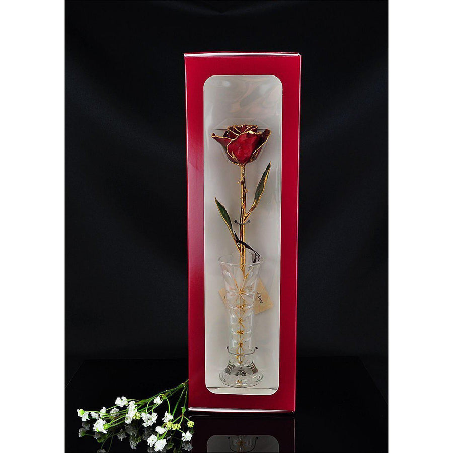 24K Gold Tipped Burgundy Rose with Crystal Vase-Gold Trimmed Rose-The Rose Lady-Top Notch Gift Shop