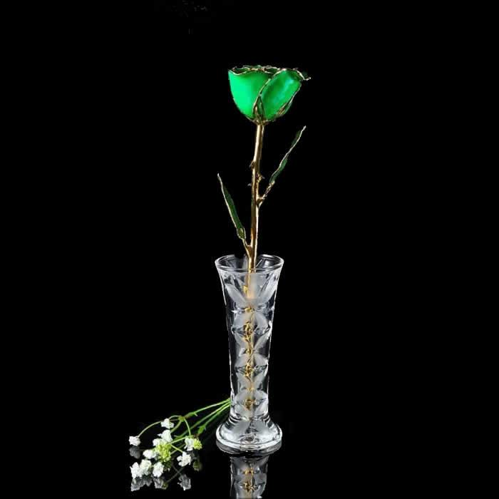 24K Gold Trimmed Green Rose with Crystal Vase-Gold Trimmed Rose-The Rose Lady-Top Notch Gift Shop