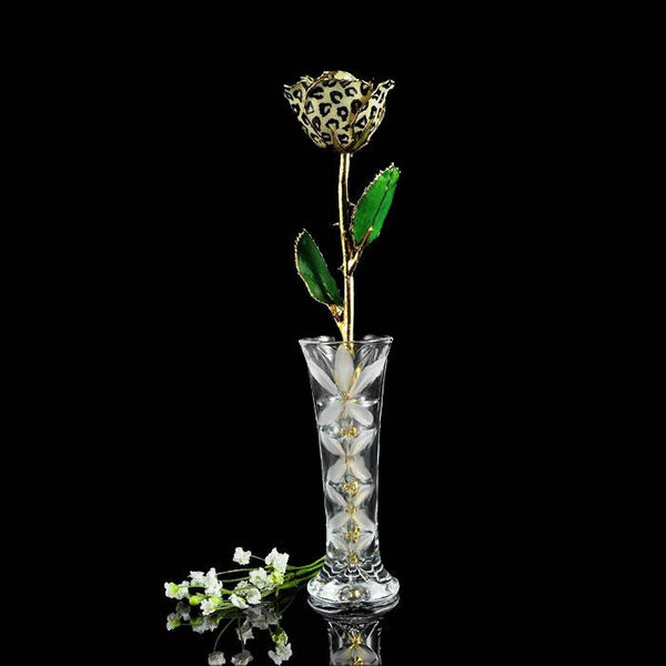 24K Gold Tipped Leopard Rose with Crystal Vase-Gold Trimmed Rose-The Rose Lady-Top Notch Gift Shop