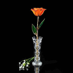 24K Gold Trimmed Orange Rose with Crystal Vase-Gold Trimmed Rose-The Rose Lady-Top Notch Gift Shop