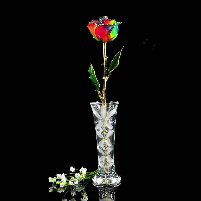 24K Gold Trimmed Paradise Rose with Crystal Vase-The Rose Lady-Top Notch Gift Shop