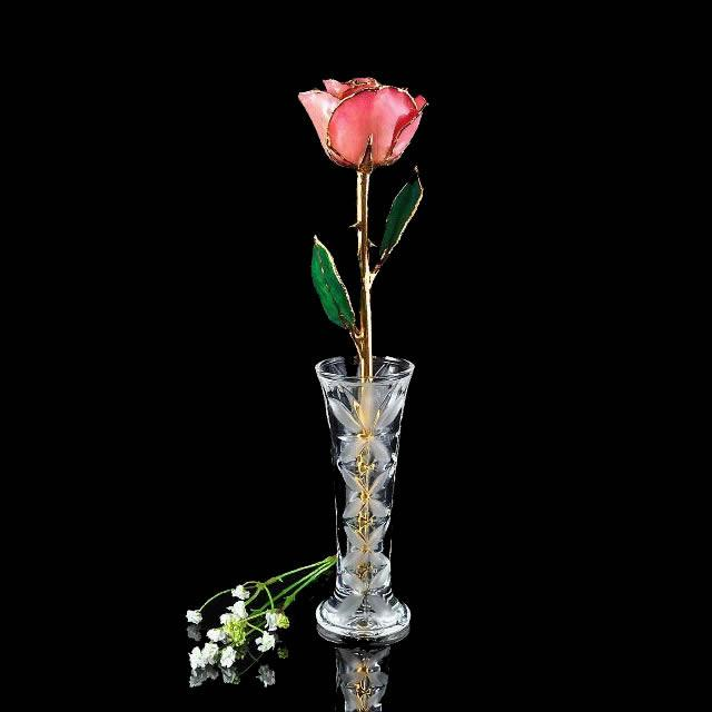 24K Gold Trimmed Pink Rose with Crystal Vase-The Rose Lady-Top Notch Gift Shop