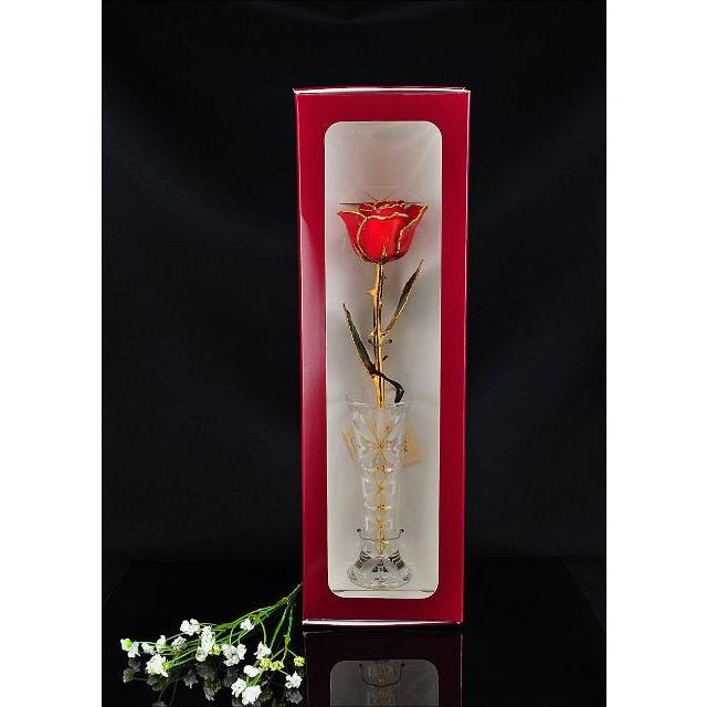 24K Gold Trimmed Red Rose with Crystal Vase-The Rose Lady-Top Notch Gift Shop