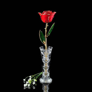 24K Gold Tipped Red Rose with Crystal Vase-Gold Trimmed Rose-The Rose Lady-Top Notch Gift Shop