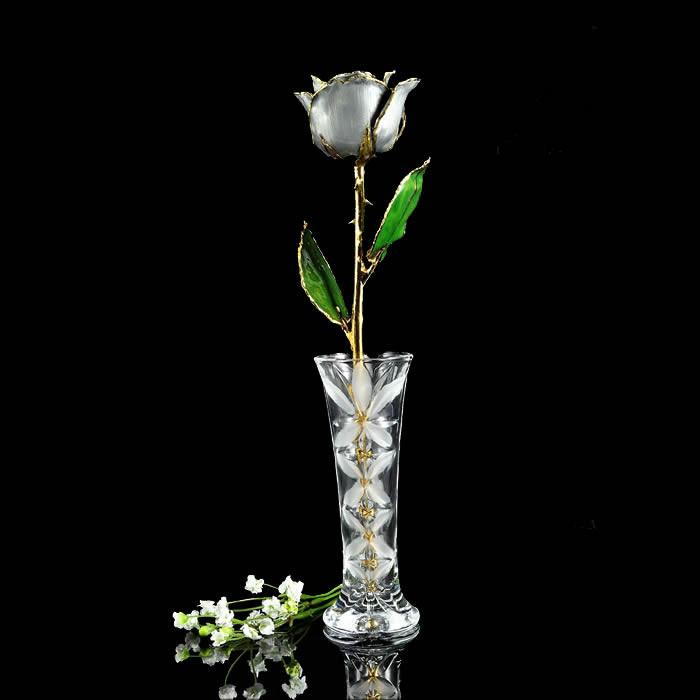 24K Gold Trimmed Silver Moonstone Rose with Crystal Vase-The Rose Lady-Top Notch Gift Shop