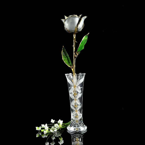 24K Gold Trimmed Silver Moonstone Rose with Crystal Vase-Gold Trimmed Rose-The Rose Lady-Top Notch Gift Shop