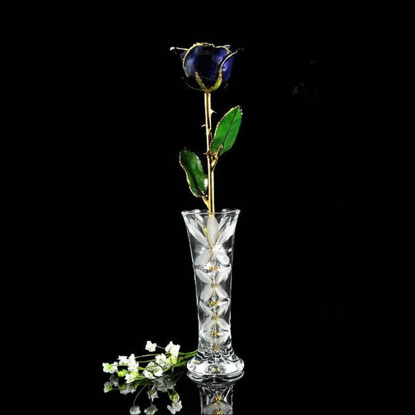 24K Gold Trimmed Twilight Blue Rose with Crystal Vase-Gold Trimmed Rose-The Rose Lady-Top Notch Gift Shop