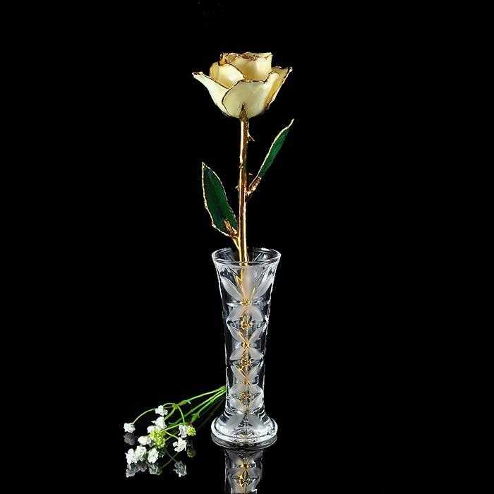 24K Gold Trimmed White Rose with Crystal Vase-The Rose Lady-Top Notch Gift Shop